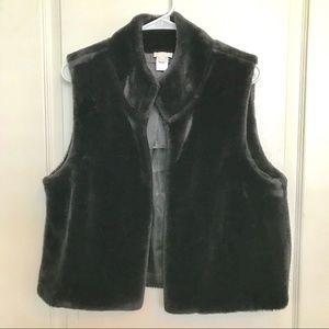 Talbot's Black Faux Fur Vest Small S